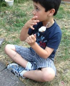 enjoying the marshmallows