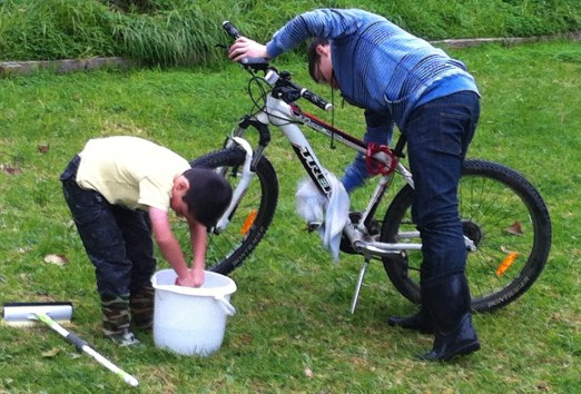 washing the bike