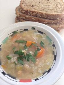 vegetable, chicken and rice soup