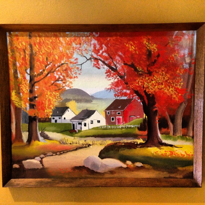 autumn village painting