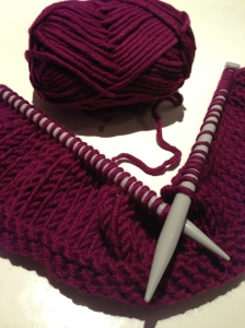 knitted snood in progress