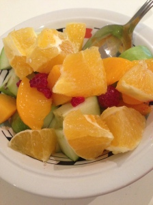 fruit salad with orange syrup