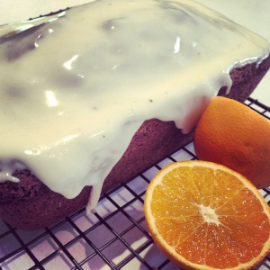 orange cake with orange glace icing